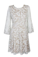 Jessica Howard Ivory Lace  Bell Sleeve Lace Fit & Flare Dress 8
