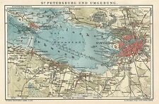 B0324 Russia - Saint Petersburg - Carta geografica d'epoca - 1903 Vintage map