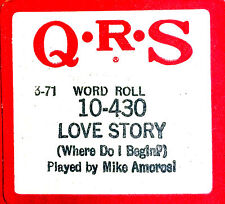 QRS Word LOVE STORY (Where Do I Begin) 10-430 Mike Amorosi Player Piano Roll