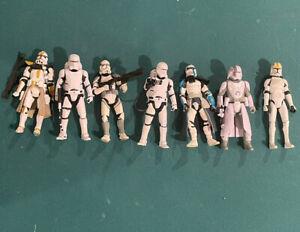 Star Wars Hasbro Clone Trooper Lot of 7 Blue Yellow Commander ARC Rare