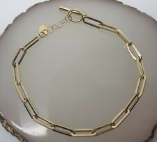 "Genuine 18k Solid Gold Paper Clip Style Bracelet 7.5"""