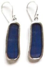 Large Rectangle Butterfly Wing Earrings~Sterling Silver Deep Blue/Drop Dangle