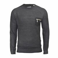 Mens Jumper Brave Soul Vulcan Knitted Crew Neck With Zipped Chest Pocket