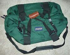 Jansport Vintage Oversized Travel Duffle Bag Green Black Tan Leather Shoulder