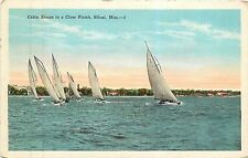 Mississippi, MS, Biloxi, Cabin Sloops in a Close Finish 1932 Postcard