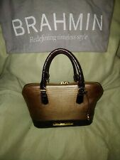 Authentic Brahmin Women's Beige Brown Handbag crocodile Skin Print Leather .