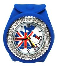 Brand New Official Sanrio Hello Kitty Union Jack Silicon Snap On Watch - Blue