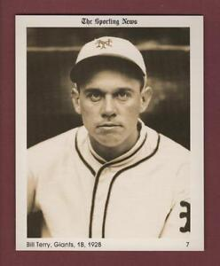 #7 BILL TERRY, 1928 Giants: THE SPORTING NEWS 1981 Conlon Collection card HOF