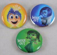 New Disney Pixar Inside Out 3 Pack Pin Back Button Set Joy - Sadness - Disgust