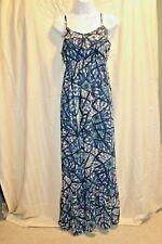 Eyelash Couture Abstract Sz M Green Blue Sundress Maxi Dress Summer Casual
