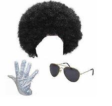 Michael Jackson Black Afro Wig Sunglasses Sequin Glove Fancy Dress Costume 1980s