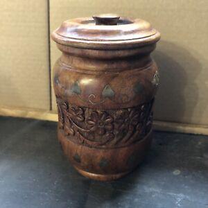Attractive Wooden Storage / Trinket Jar (A6)