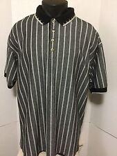 Greg Norman Size XL Classic Fit Polo Golf Shirt  Black White Striped Shark Logo