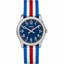 Kids Timex Time Teacher Red White Blue Stripes Nylon Fabric Band Watch TW7C09900