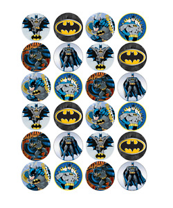24 x Large Batman Edible Cupcake Toppers Birthday Party Cake Decoration