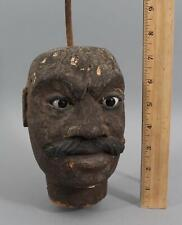 Large Antique 19thC Carved & Painted Wood, Folk Art Mans Head w/ Glass Eyes NR