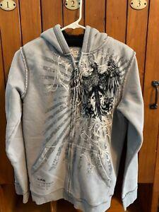 HELIX Full Zip Gray Sherpa Hooded Sweatshirt Hoodie Boys Size XL Graphic Print