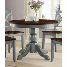b07b2fc7ffb2 Farmhouse Solid Wood Dining Table Round Pedestal Antique Blue Brown Kitchen