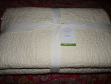 Pottery Barn Belgian Flax Linen Floral Quilt, Full Queen, New, Ivory