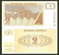 Slovenia P2a, 2 Tolar, Triglav Peak in Alps / honey comb pattern, honey bee UNC