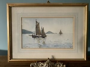 Original Signed Watercolour Painting Sailing Boats at Sea The Mewstone Devon RP