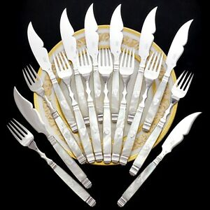 Antique French Sterling Silver & Mother of Pearl Handled 16pc Fish Flatware Set