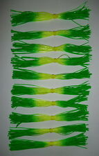 (10) Custom Silicone Spinnerbait/Buzzbait Skirts-(Chart./Green Tip)-Bass Fishing