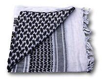 100% Cotton Military Grade Shemagh Headscarf Keffiyeh Sniper Veil Black & White