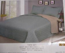 New Soft & Cozy Twin Quilt Set - Solid Camel/Sage