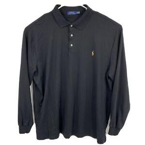 POLO RALPH LAUREN SOFT TOUCH COTTON Polo Shirt Long Sleeve Black Sz 2XLT Tall