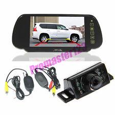 "7 IR LED Wireless Reversing Camera + 7"" LCD TFT Monitor Mirror Car Rear View Kit"