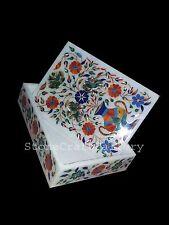 "7""x5""x2"" Marble Jewelry Storage Box Marquetry Multi Stone Floral Inlay Work"