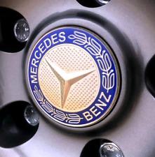 ALUMINIUM EMBLEM STICKER Logo Badge Blue 65mm Wheel Center Hub for MERCEDES-BENZ