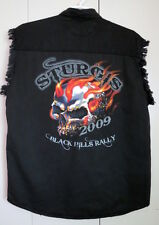 Sturgis Black Hills Rally 2009 mens denim shirt  XL black distressed biker