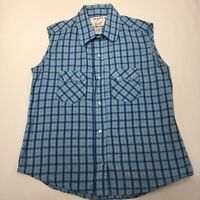 Crazy Cowgirl Shirt Blouse Pearl Snap Blue Plaid Sleeveless Western Rockabilly S