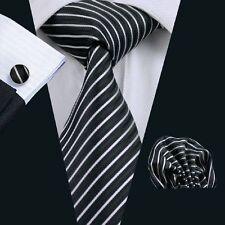 Nero 100% PURA SETA Cravatta Gemelli e Fazzoletto Set con motivo a righe bianche