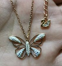 Authentic Signed Swan Swarovski Necklace with Charms Pendant Butterfly Crystal