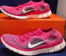 2013 Womens Nike Free Flyknit+ OG Fireberry White Pink Run SZ 8.5 ( 615806-610 )