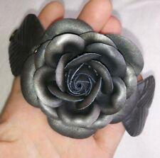 "Handmade Artisan Gray Genuine Leather Rose Flower Snap Closure Bracelet 8"""
