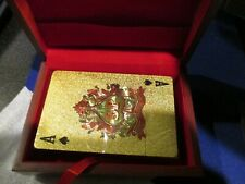 24K GOLD PLATED PLAYING CARDS w/BOX BLACK & MILD POKER SPADES GAMES NEW
