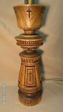 """2939M Vtg Mid Century 30"""" Wood Table Lamp w/Crosses Signed EXC!"""