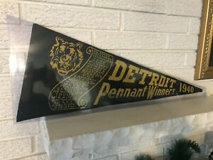 Rare Black 1940 Detroit Tigers Felt Roster Pennant Gehringer & Greenberg