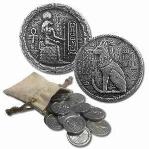 1 - 1/2 oz .999 Silver Round - Old World Style Egyptian God Cat - Bastet - NEW