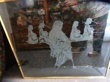 LARGE NAVAJO NATIVE AMERICAN ETCHED DUAL SIDED HANG PICTURE 40'' x 36'' x 3/4''