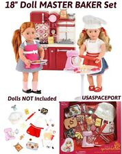 "18"" Doll Kitchen MASTER CHEF BAKER Cook Set Cooking Outfit For American Girl Boy"