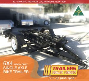 6x4 BIKE TRAILER   HEAVY DUTY   3 BIKE CHANNELS   1x JERRY CAN HOLDER   Brisbane