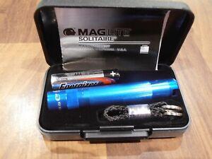 Mini Maglite Solitaire Blue AAA Key Ring Flashlight BNIC