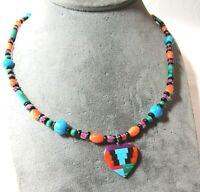 Southwest Silver Heart Pendant Necklace Turquoise Malachite Onyx Carnelian etc