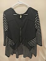 Free People We the Free Zipper Front Black White Striped Cotton Jacket Top B1