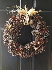 Large Pine Cone, Christmas, Holiday Wreath, Handcrafted with Natural Materials